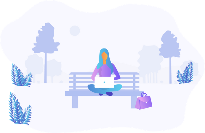 Woman working while seating on park bench Illustration