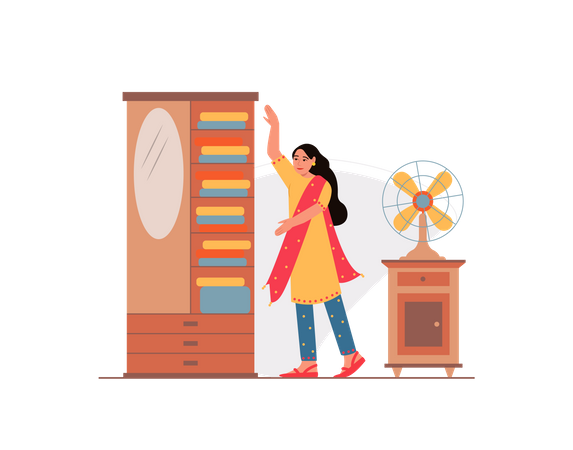 Women taking clothes out of the cupboard Illustration