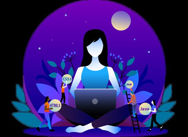 Women Web Developer with laptop Illustration