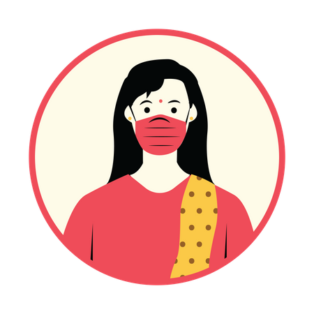 Women with surgical mask Illustration
