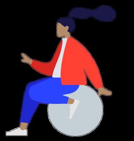 Young girl sitting on ball Illustration