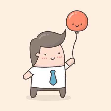 Young man holding red balloon Illustration