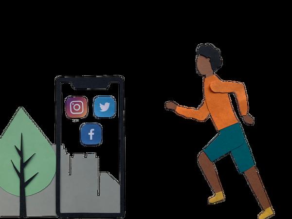 Youth running towards mobile Illustration