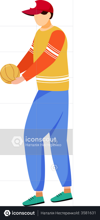 Adult man holding ball Illustration