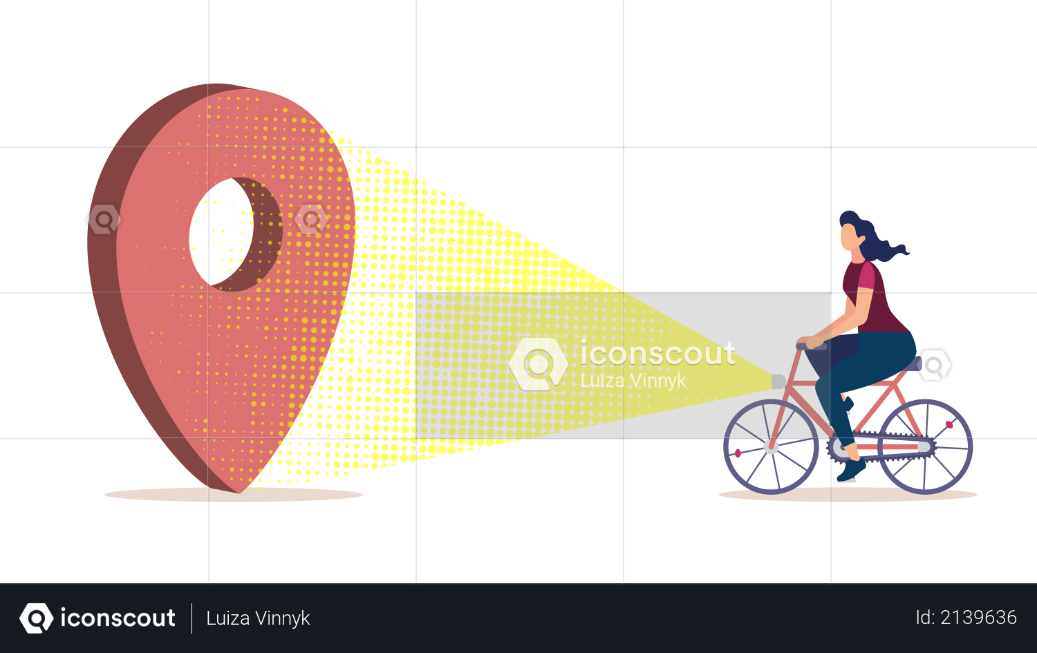 Bicycle Tourism, Journey Planning, City Navigation and Cartography Flat Vector Concept with Woman Riding Bicycle Illustration