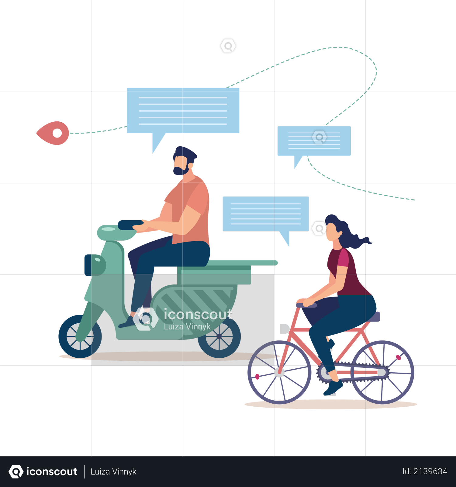 Bicycle Tourism, Traveling on Scooter Illustration