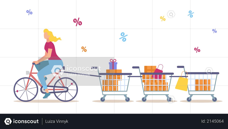 Big Sales in Shop, Seasonal Discounts, Low Price Offer in Supermarket Illustration