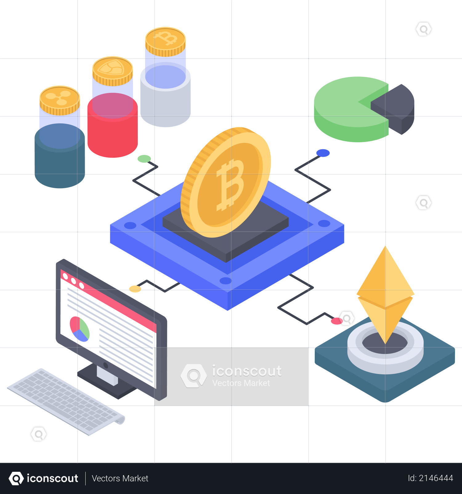 Bitcoin and Ethereum making structure Illustration