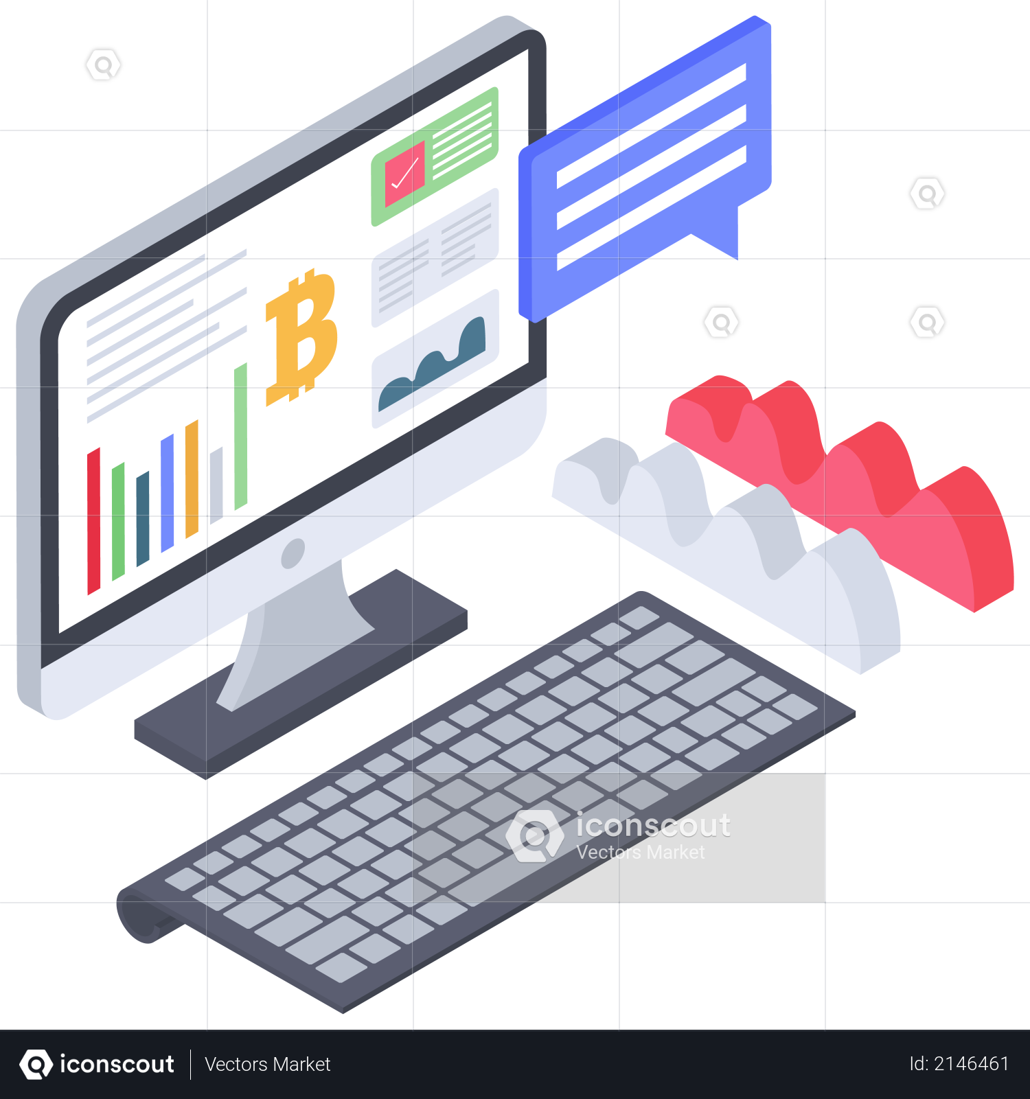 Bitcoin Price or value notification message Illustration