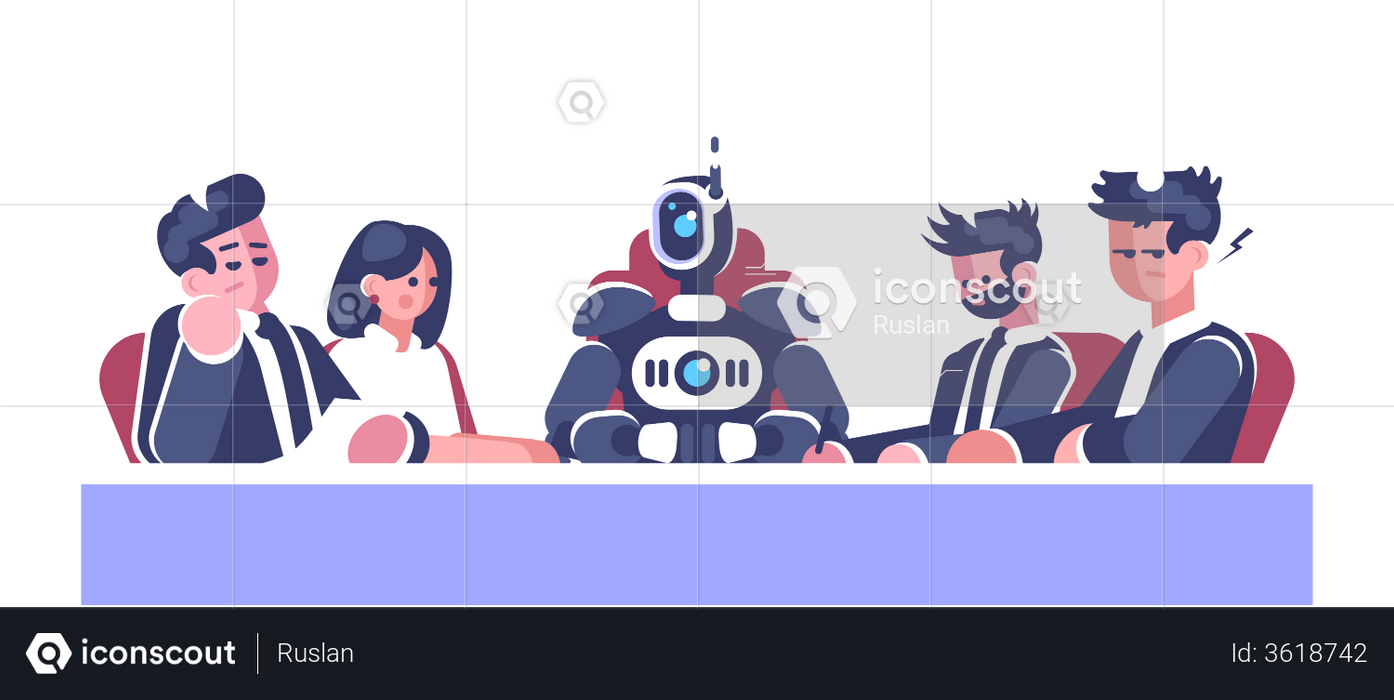 Boss Robot Taking Business Meeting Illustration