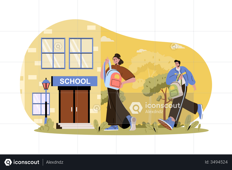 Boy and Girl going to school Illustration