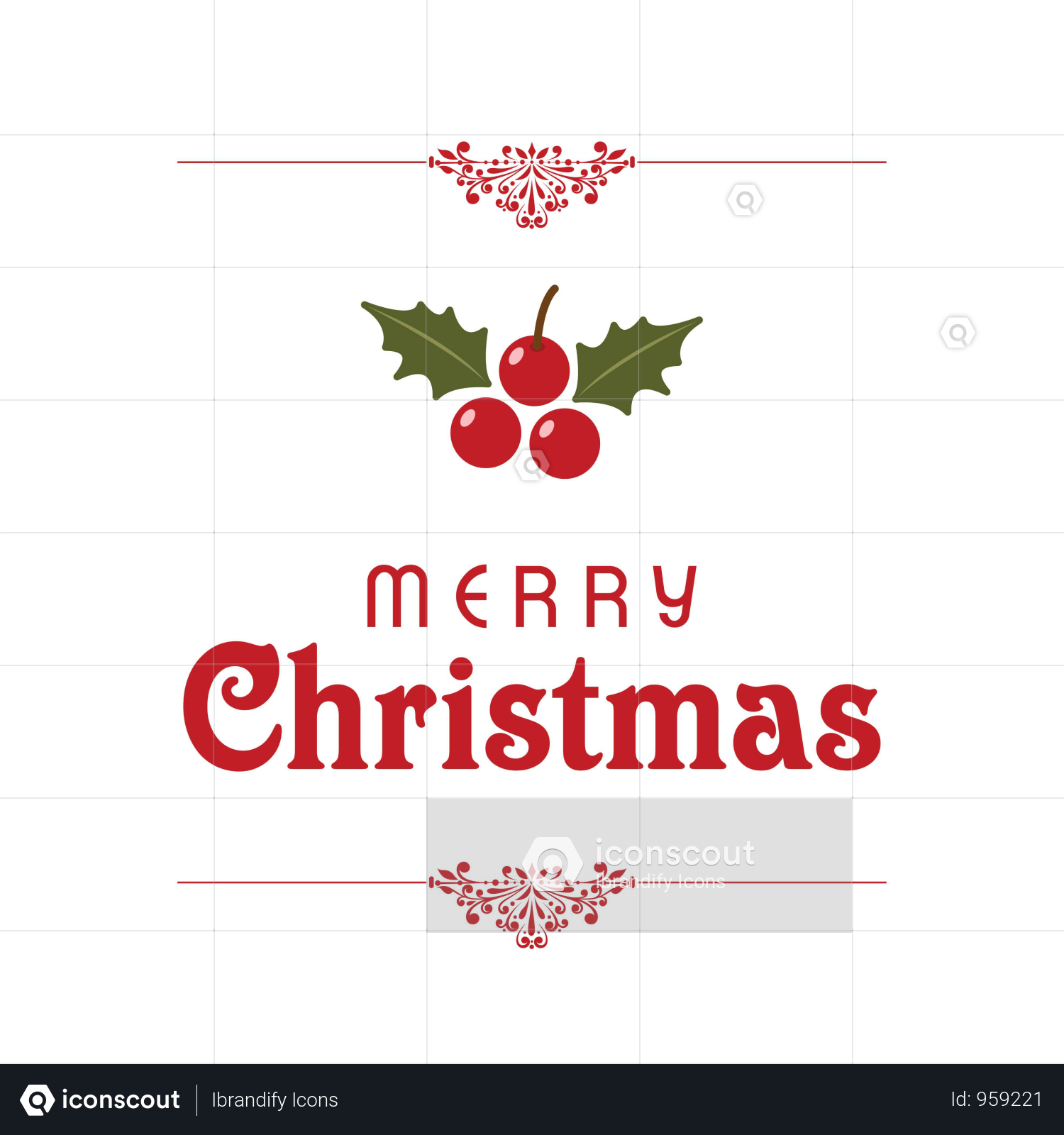 Christmas Typographic With Red Cherries Illustration