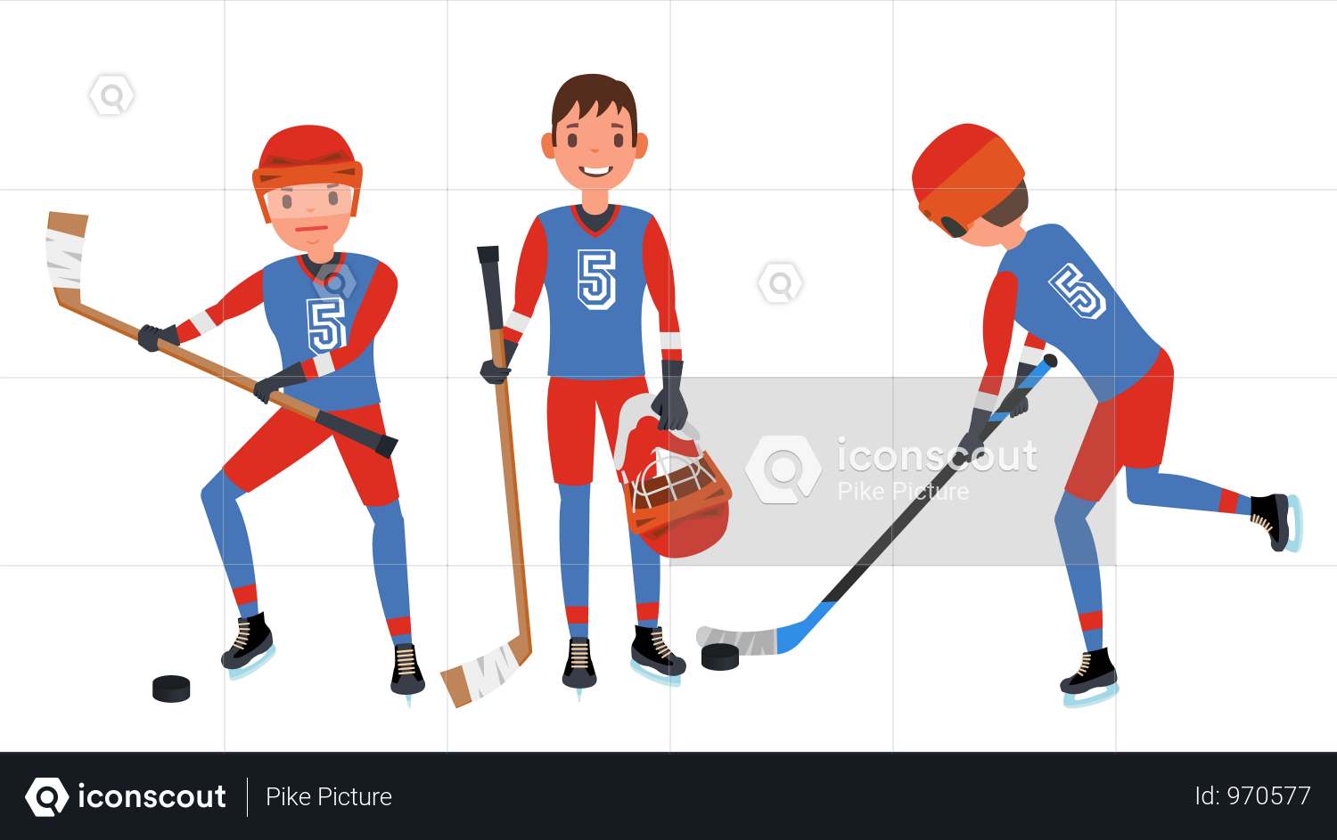 Classic Ice Hockey Player Illustration