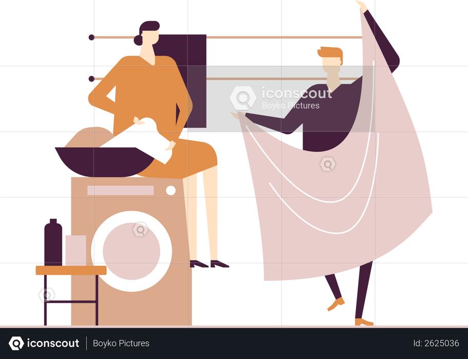 Couple doing laundry Illustration