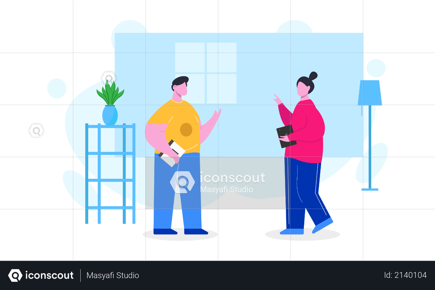 Coworkers or colleagues discussing about business product Illustration