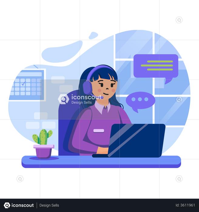 Customer Support center Illustration