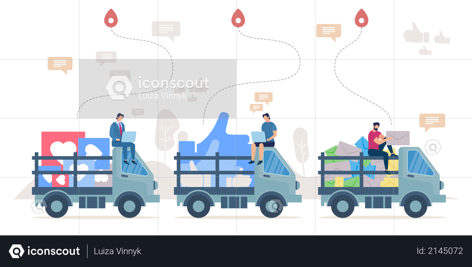 Delivering social network positive reactions, successful marketing, ad campaign Illustration