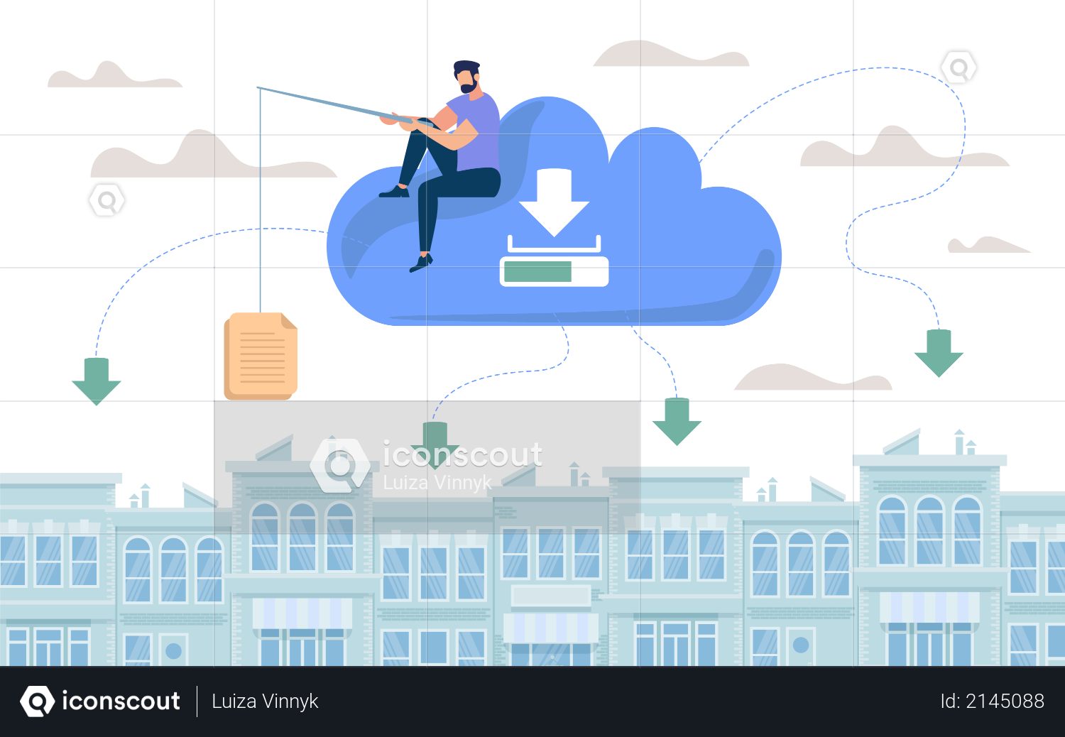 Document Storage in Cloud Illustration