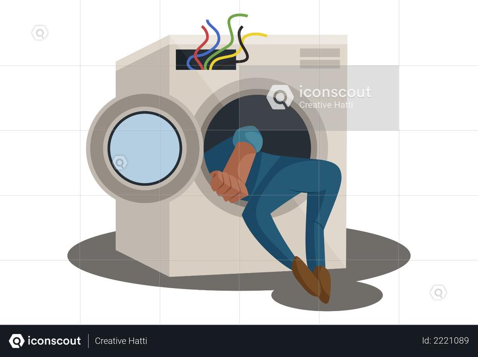 Electrician Repairing Washing Machine Illustration
