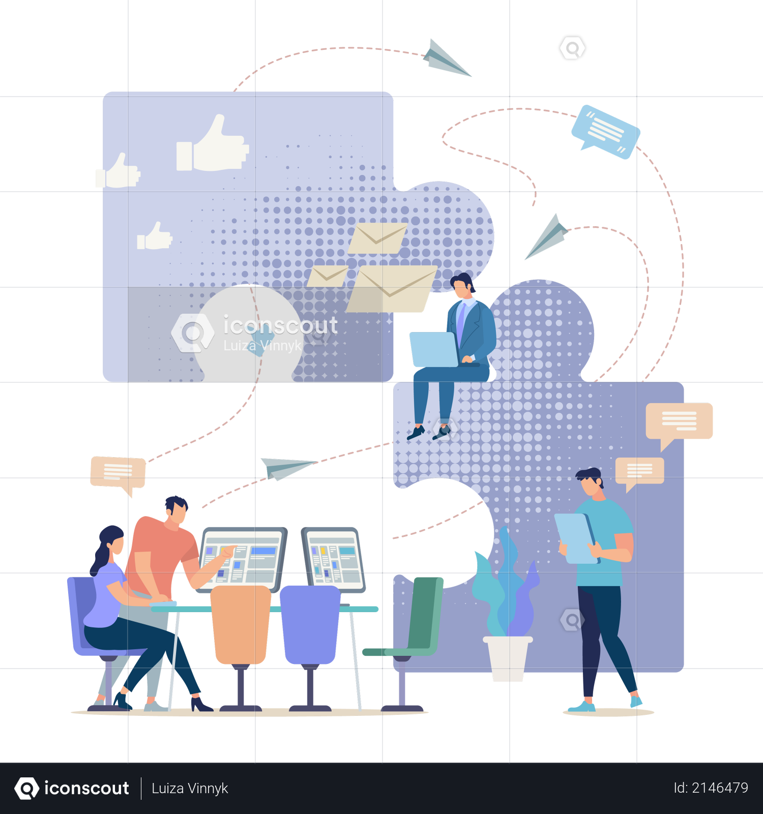 Entrepreneurs Team, Company Employees Group Working Together in Office Illustration