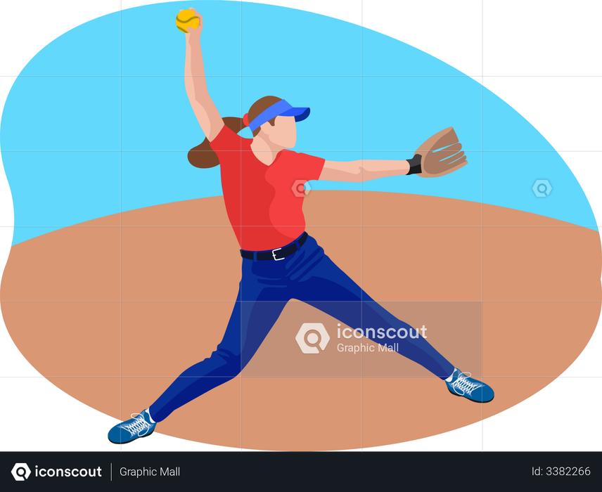 Female baseball player Illustration