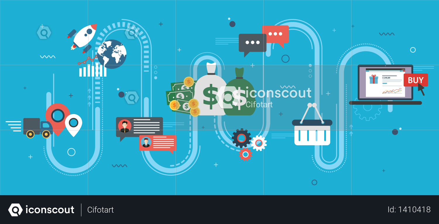 Global economy, business chart and trade success Illustration
