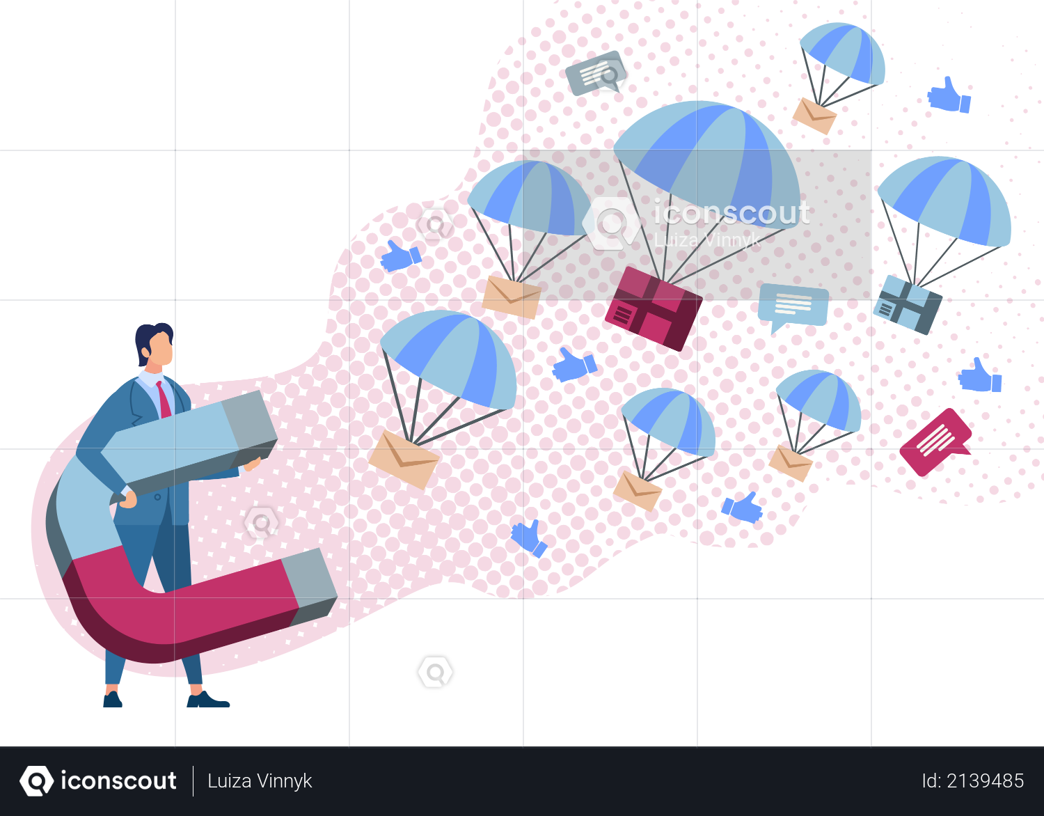 Group Mailing, Attracting New Clients with Magnetic Marketing Strategy Illustration