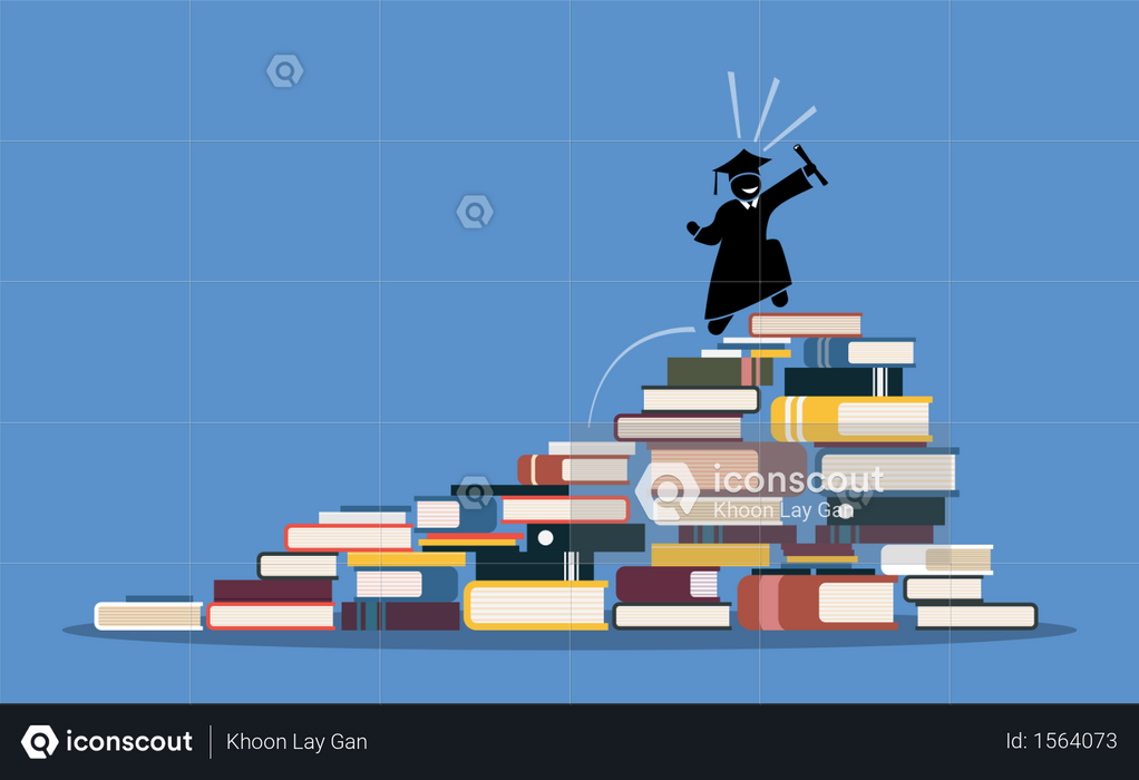 Happy graduating student climbing to the top of book piles Illustration