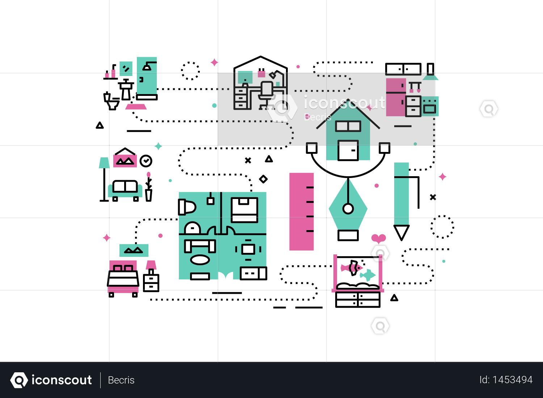 Premium Home Interior Line Icons Illustration Illustration Download In Png Vector Format