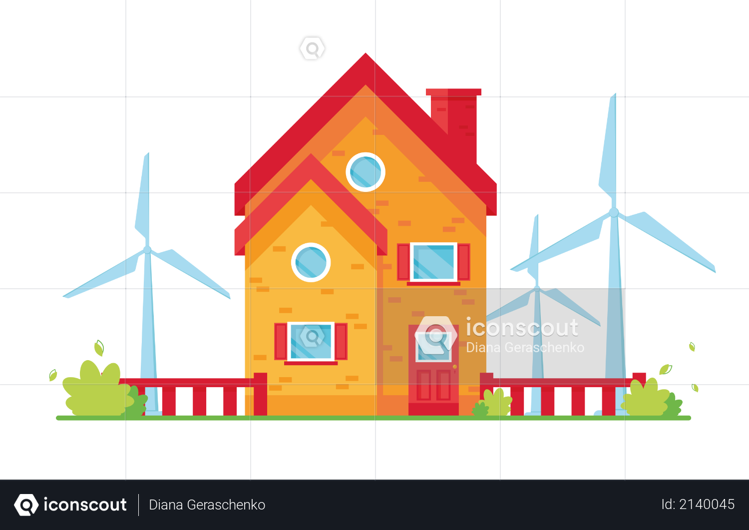 House with wind energy Illustration