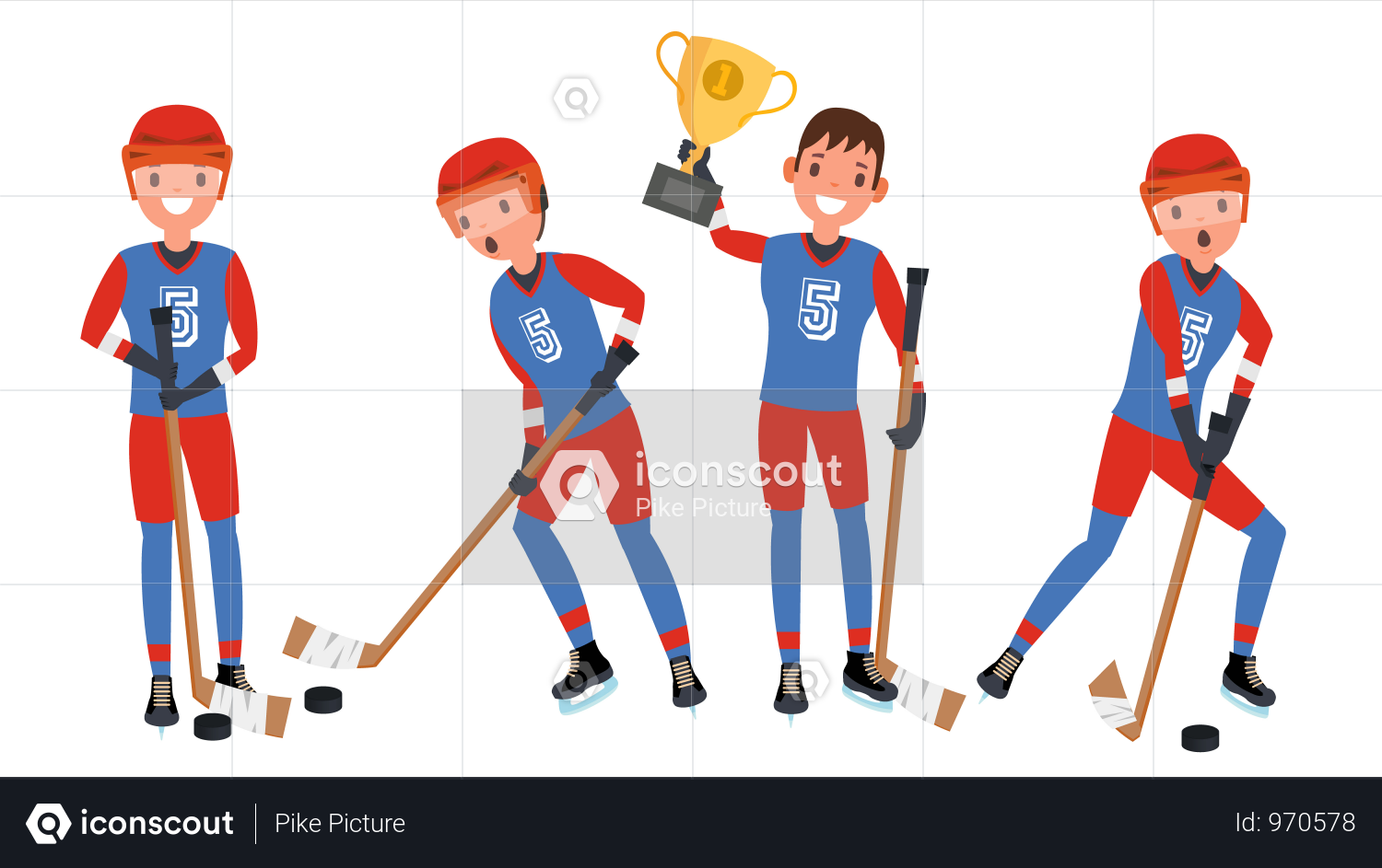 Ice Hockey Man Player Vector Illustration