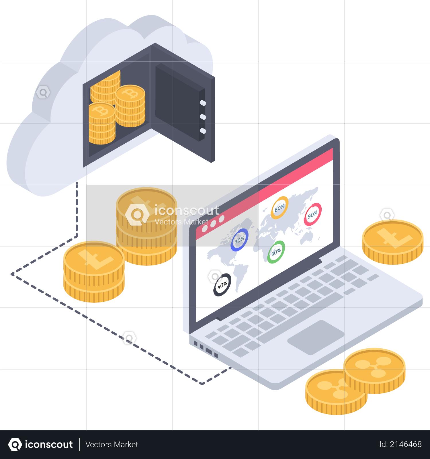 International cloud database of cryptocurrency Illustration