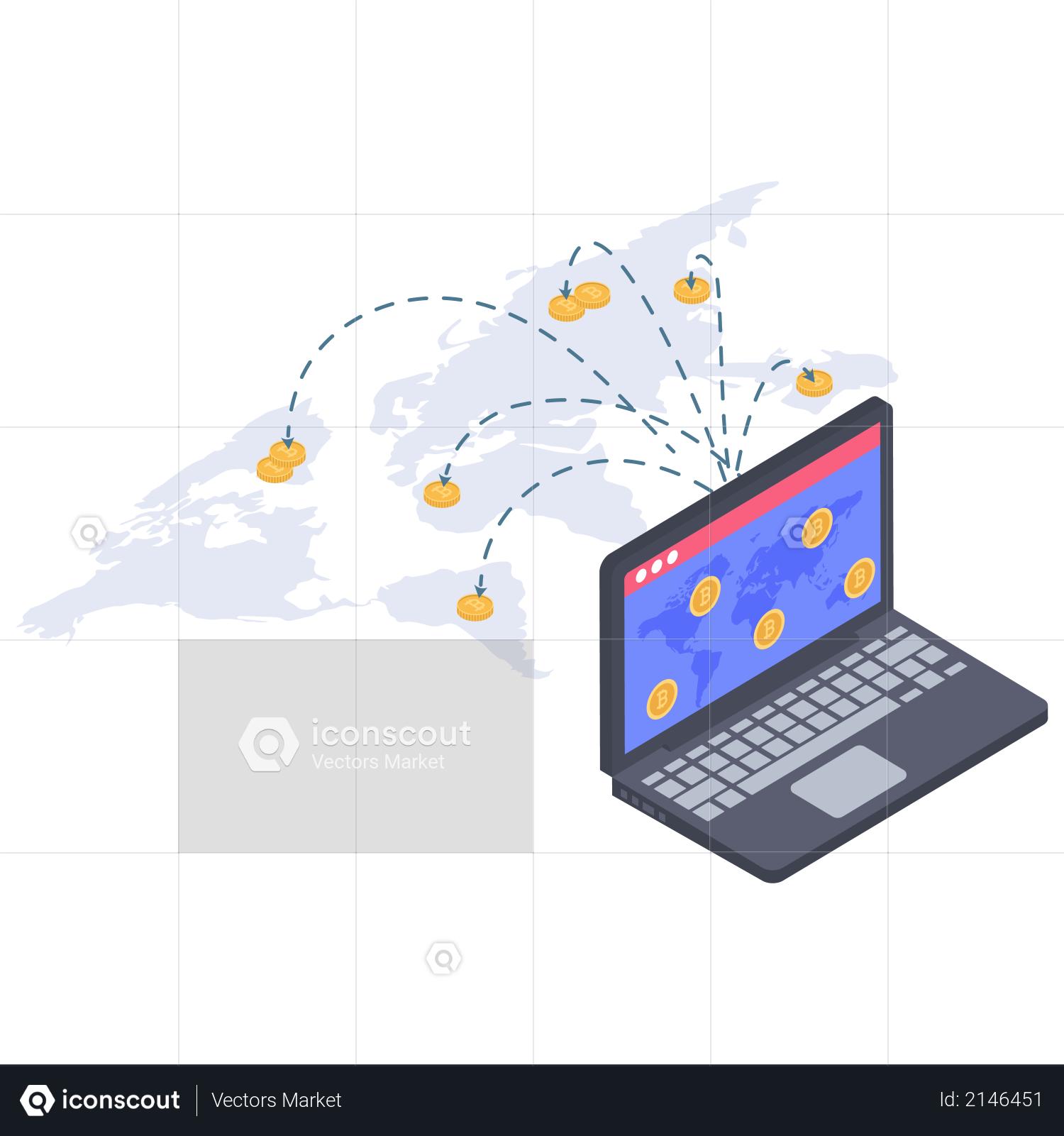International treading of cryptocurrency Illustration