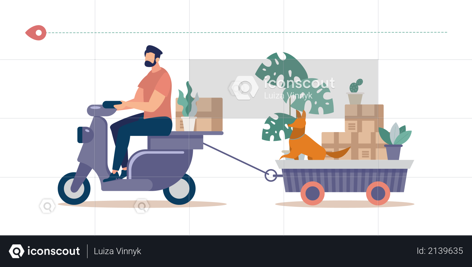 Man Riding Motor Scooter, Pulling Trailer Full of Home Stuff and Things Packed in Cardboard Boxes, Flowerpots with Live Plants and Dog Illustration