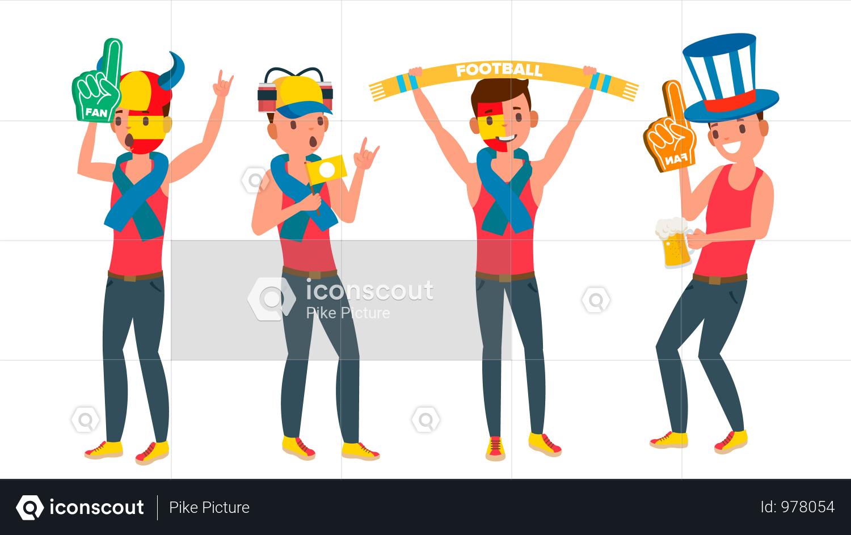 Man Supporting Sport Team Illustration