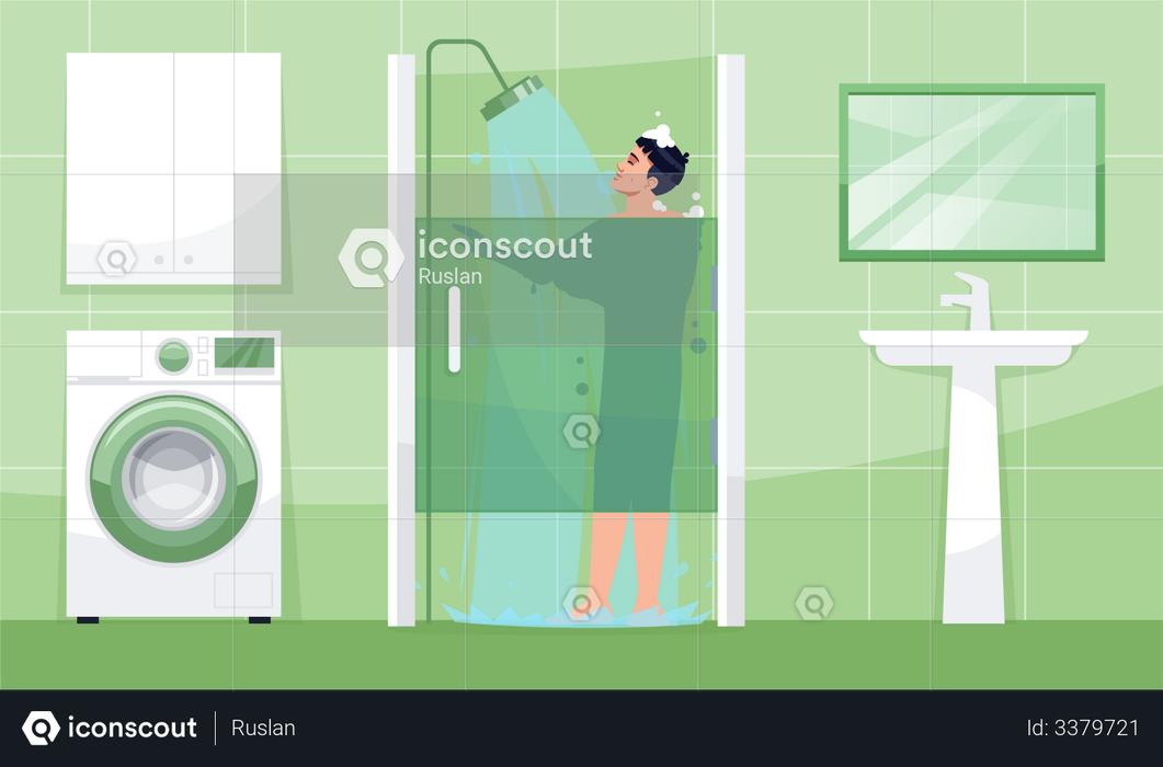 Man takes shower Illustration