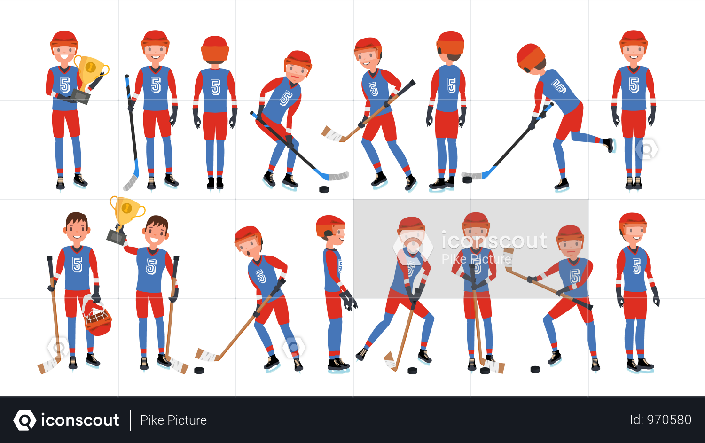 Modern Ice Hockey Player Illustration