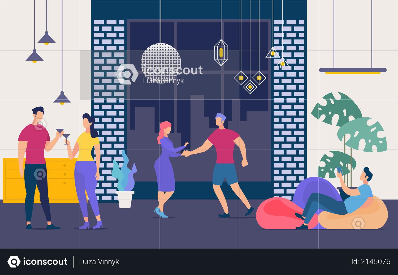 Nightclub Party, Nightlife and Weekend Leisure Illustration