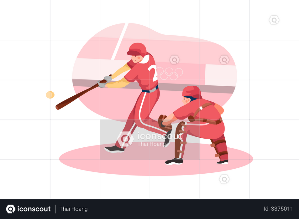 Olympic Baseball match Illustration