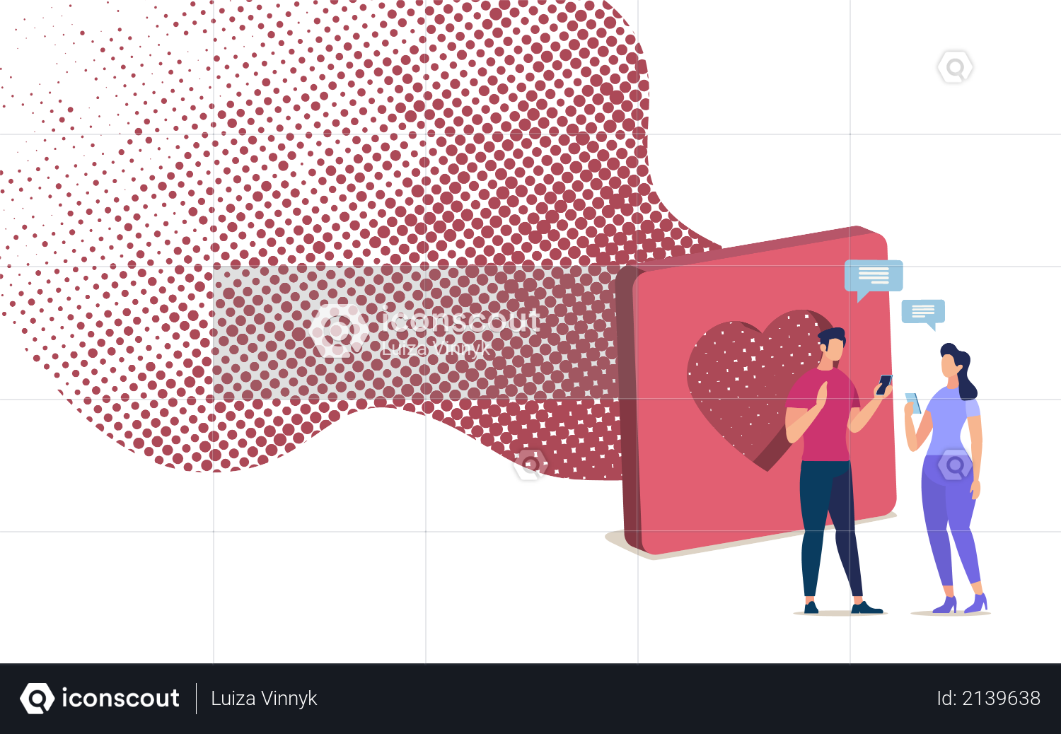 Online Dating with Mobile Phone App Illustration