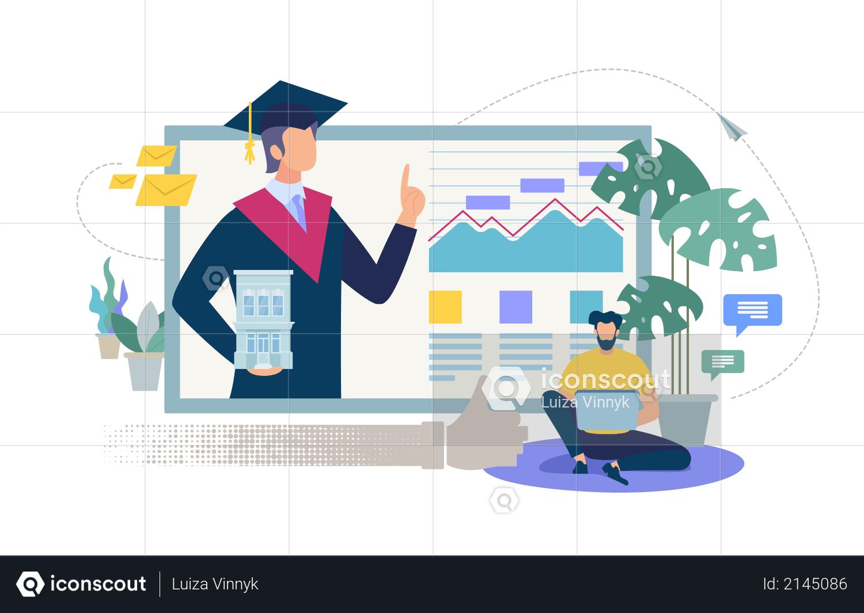 Online Education, Distance Learning, Internet University or Collage Illustration