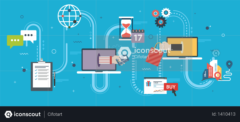 Online shopping and e-commerce Illustration