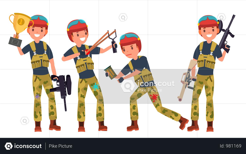 Paintball Player Illustration