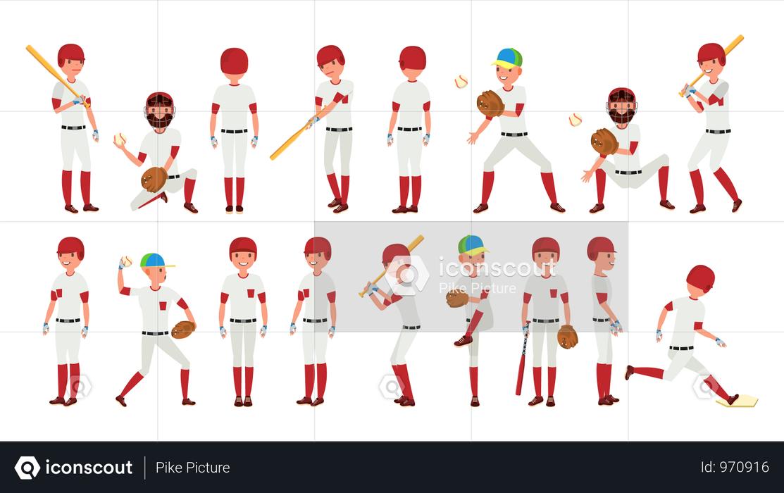 Professional Baseball Player Gestures Illustration