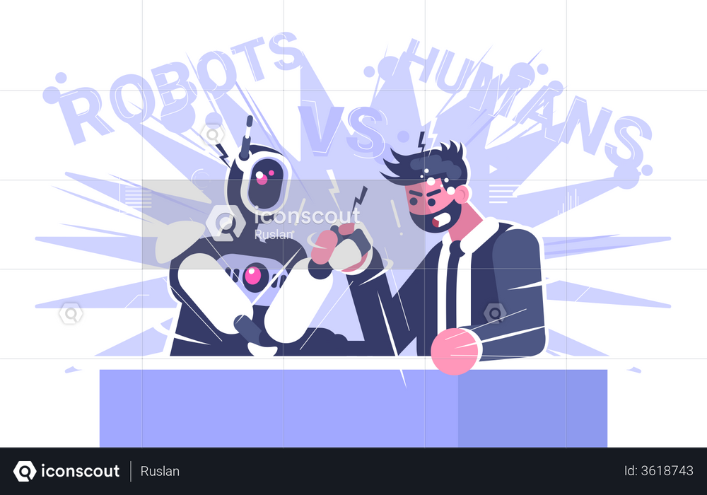 Robot And Man Doing Hand Wrestling Illustration