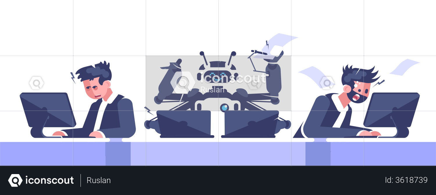 Robotic And Human Employees Working In Office Illustration