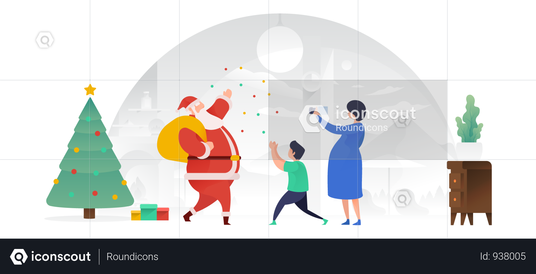 Santa Claus Spreading Joy Illustration