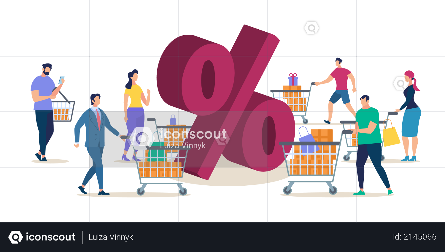 Shopping on Shop Sale with Big Discount Illustration