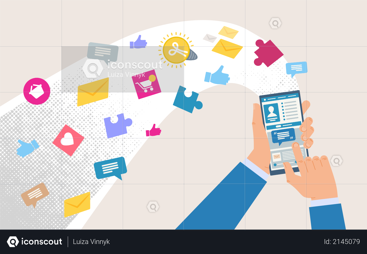 Shopping Online, Communicating, Working with Mobile Phone Apps Illustration