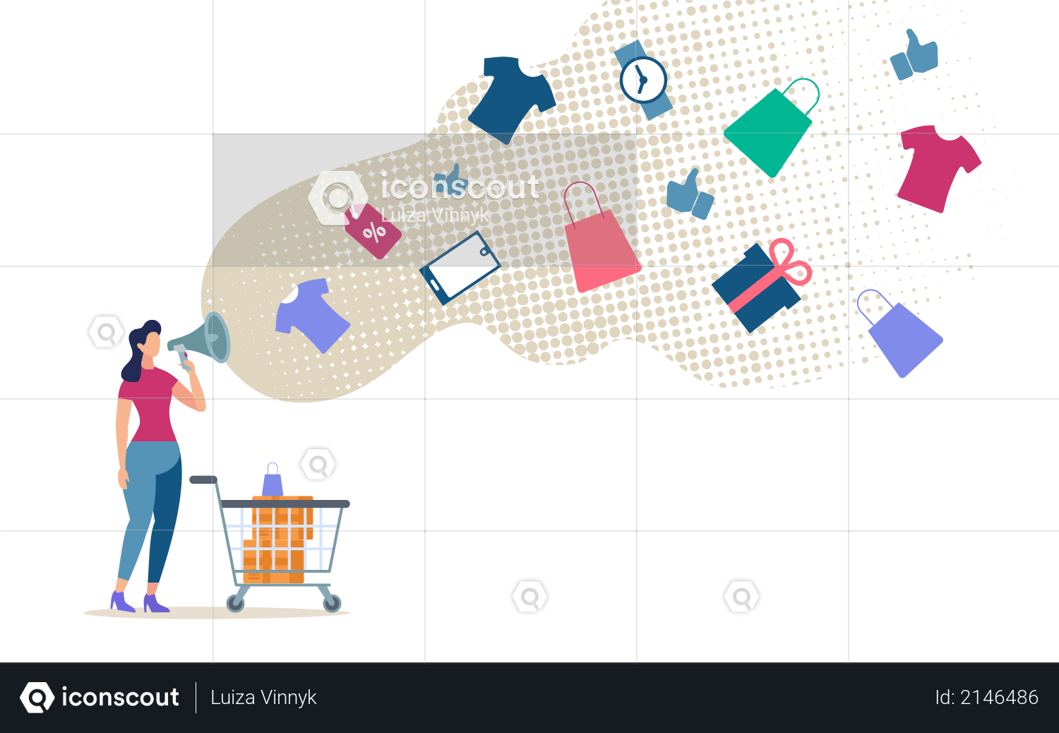 Shopping with Discounts on Shop Illustration